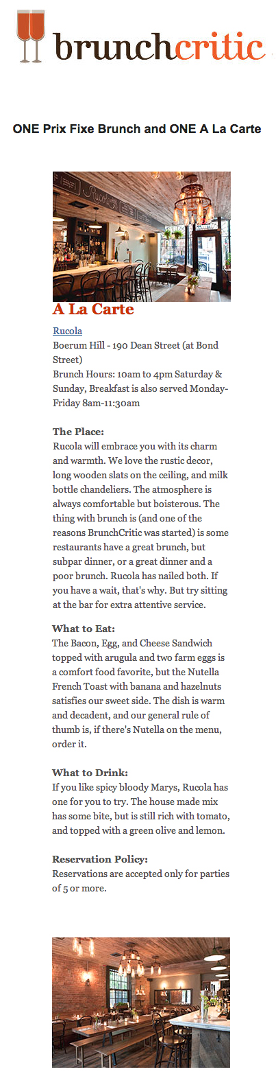 Brunch Critic's write up on Rucola