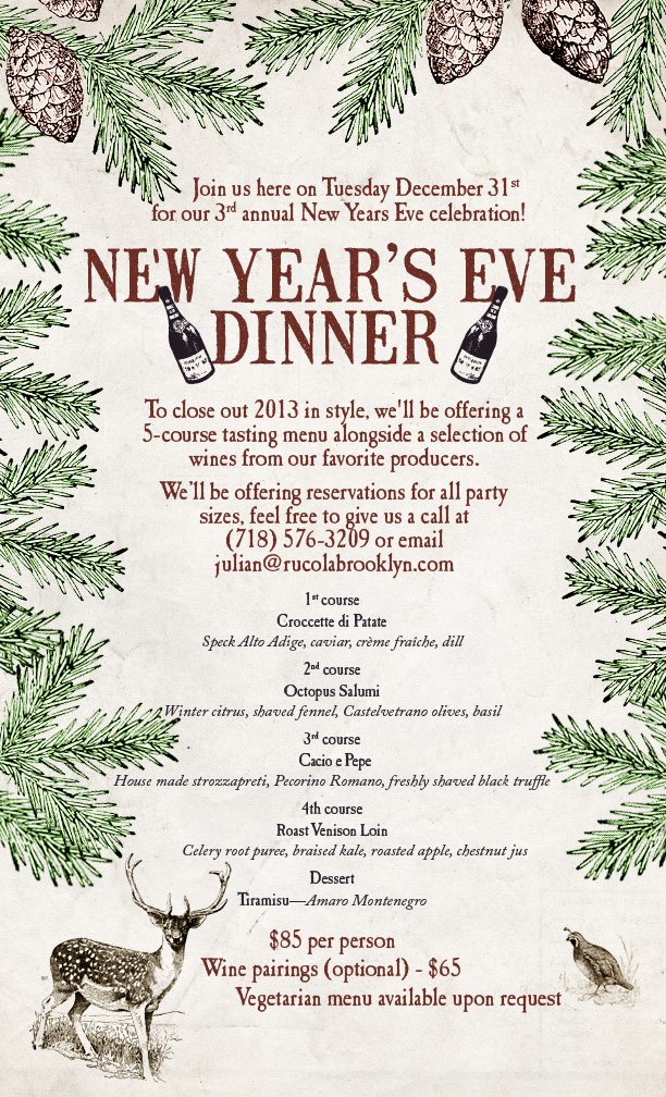 Rucola 2014 New Year's Eve flyer