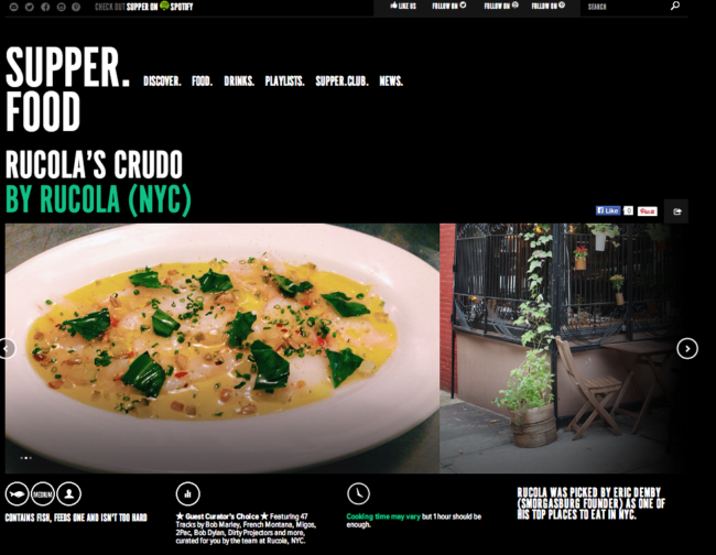 Rucola's Crudo featured on Supper Food by Spotify