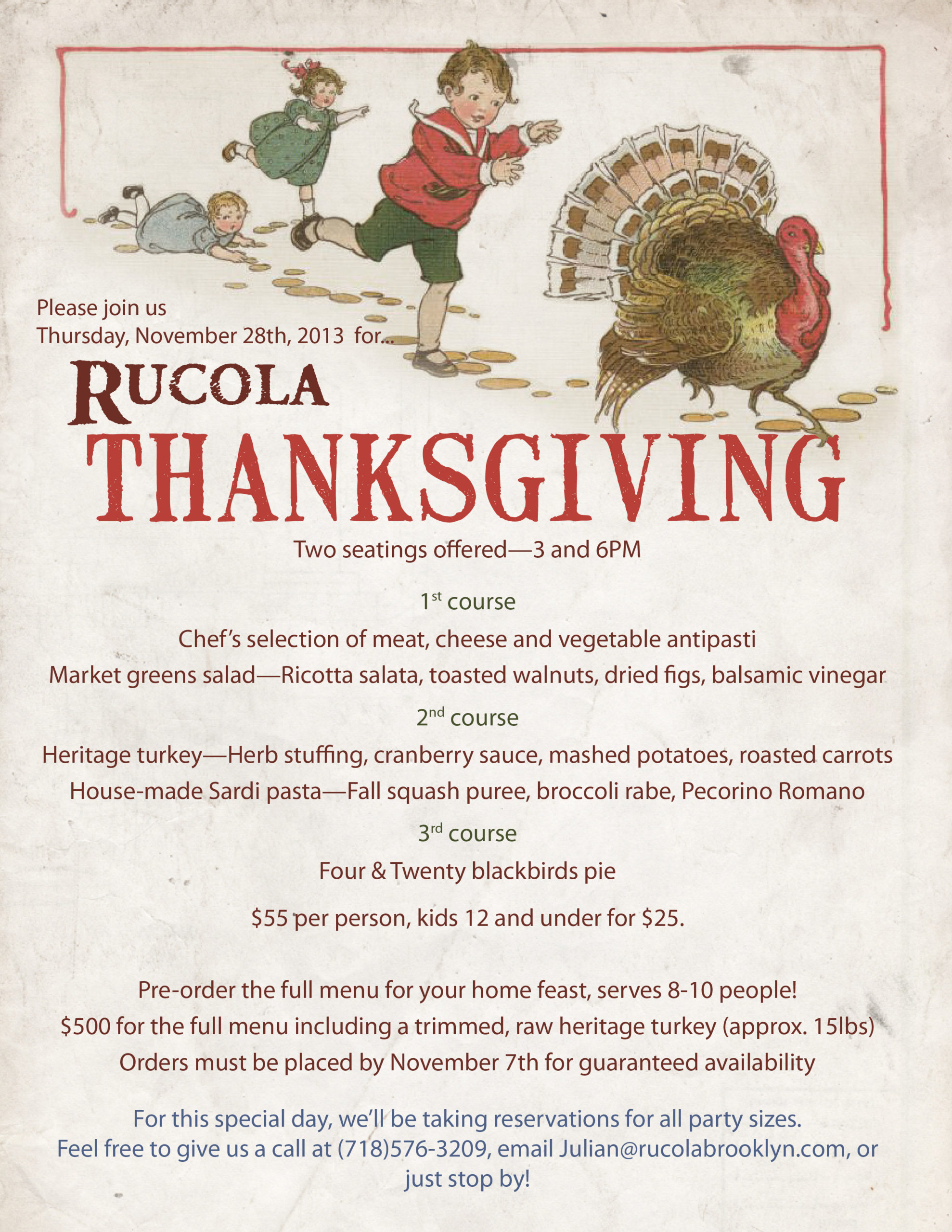 Rucola Thanksgiving 2013 flyer