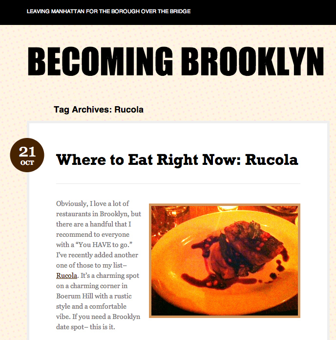 Becoming Brooklyn feature on Rucola