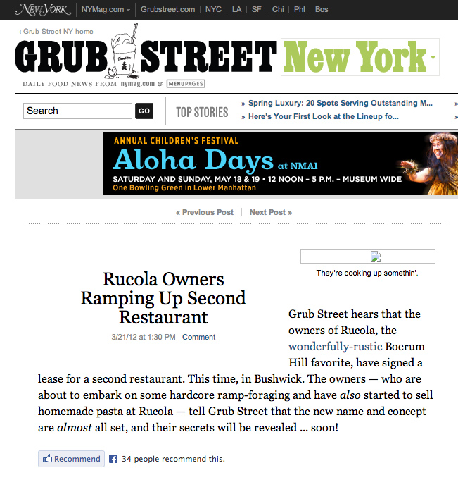 Grub Street New York feature on Rucola's Second Anniversary