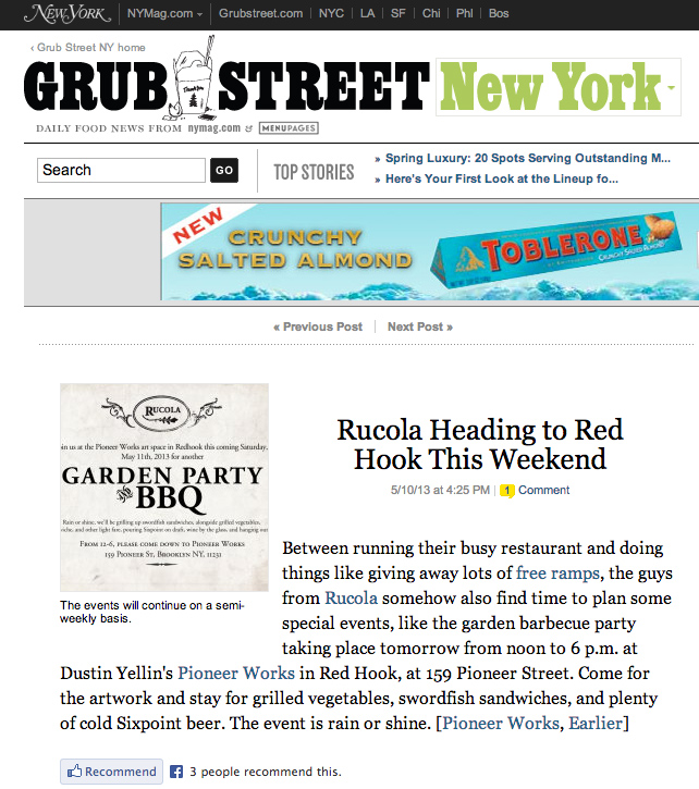 Grub Street New York feature on Rucola's Garden Party Barbecue