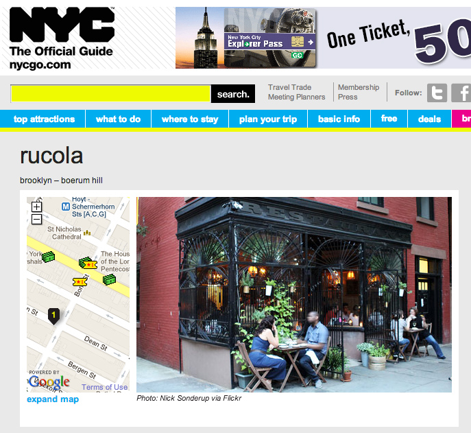 NYC Official Guide feature on Rucola