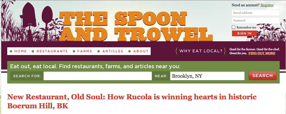 Rucola featured in The Spoon and Trowel