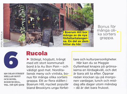 Rucola featured in Swedish publication's guide to NYC