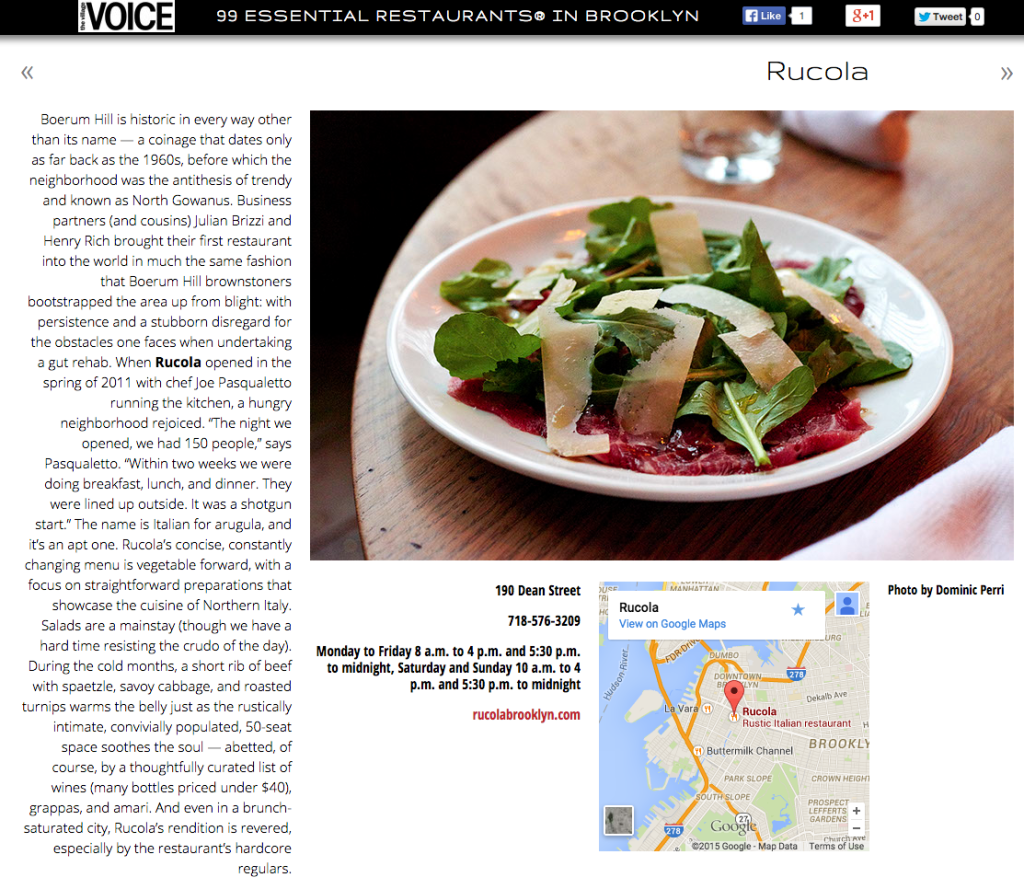 Village Voice feature on Rucola in 99 Essential Restaurants